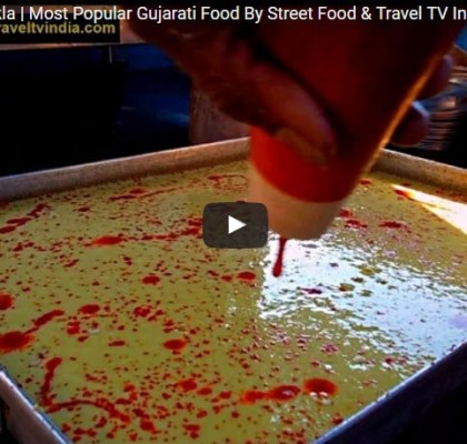 Khaman Dhokla Making. Street Fod in Gujarat. Street Food India.