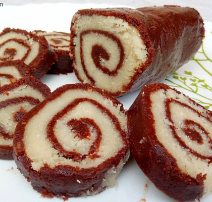 Instant Chocolate Rolls Recipe, Chocolate Rolls Recipe, Chocolate Coconut Rolls Recipe, Choco Coco Rolls Recipe, Indian Dessert Recipe, No Fire Recipe.