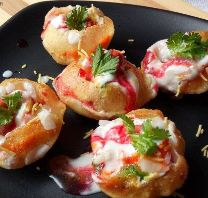 Dahi Puri Recipe, Dahi Puri Chaat Recipe, Dahi Puri Chaat with Sev, Indian Street Food Recipe, Indian Fast Food Recipe, No Fire Recipe.