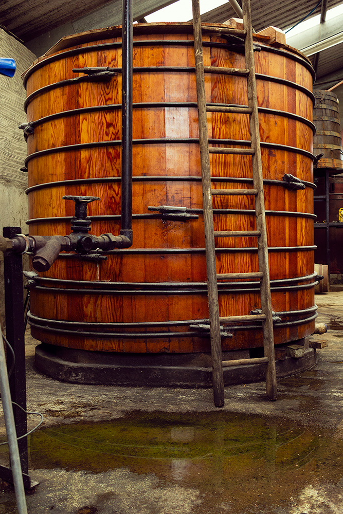 wooden tank at Red River Distillery in Scotland
