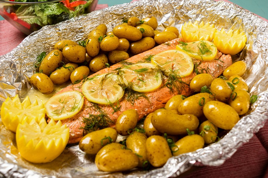 Roast salmon with lemon and dill as prepared by David Jackson on Food Over 50