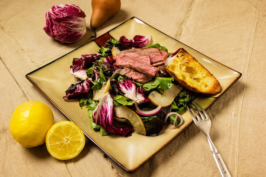 Bitter Sweet Steak Salad recipe as prepared by David Jackson on Food Over 50