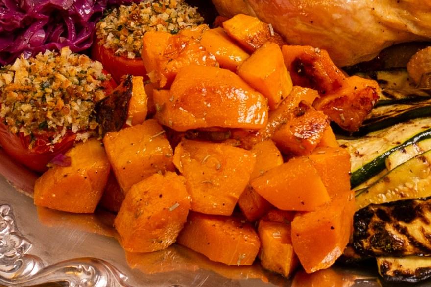 Roast squash for Poulet Jardin