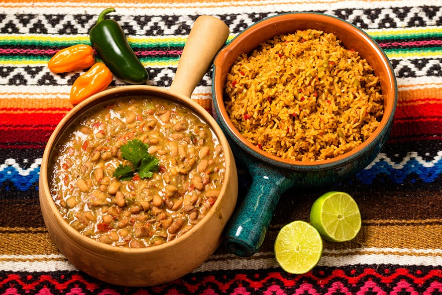 Protein rich, Spanish rice and frijoles pintos picantes