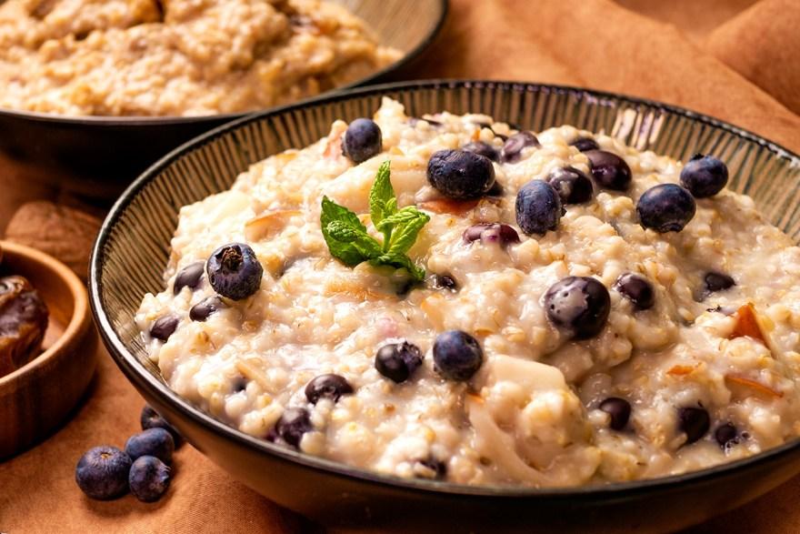 Blueberry slow oats breakfast recipe as prepared by Food Over 50