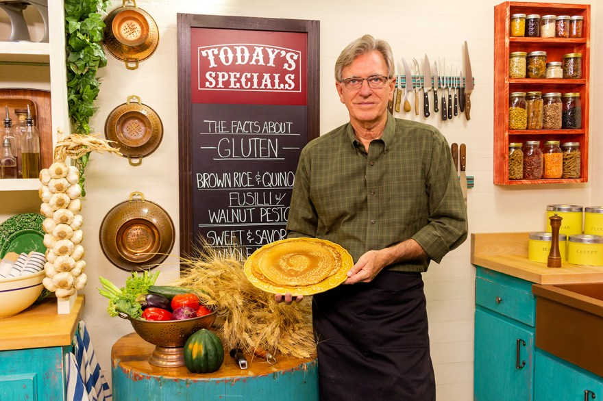 Food Over 50 host David Jackson with fresh made crepes