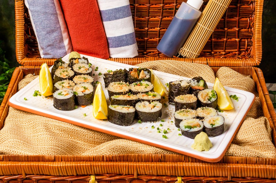 Reduced sodium picnic basket sushi recipe as prepared by Food Over 50