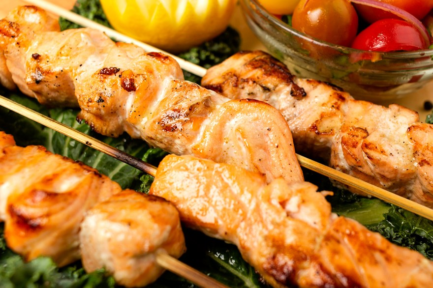 Salmon tailgate skewers as prepared by Food Over 50