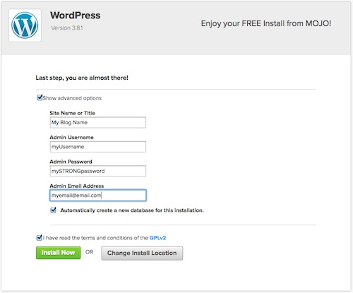 Your WordPress details
