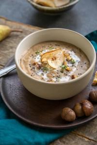 vegane und glutenfreie Maronen Suppe Rezept