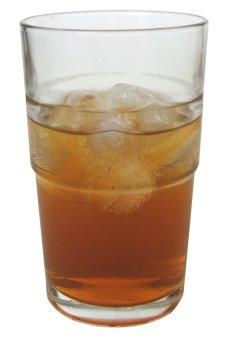 A glass of kombucha over ice.