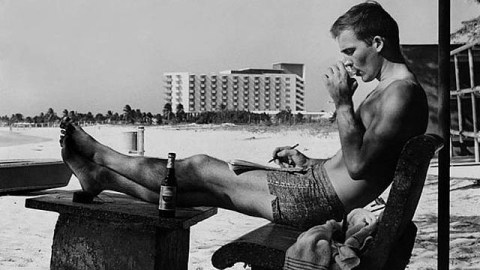 Hunter S. Thompson enjoying a drink (or two) in Puerto Rico in the mid-1960s.