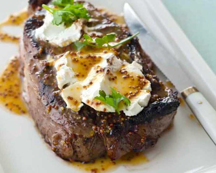 Steak Time Ribeye With Goat Cheese And Meyer Lemon Honey