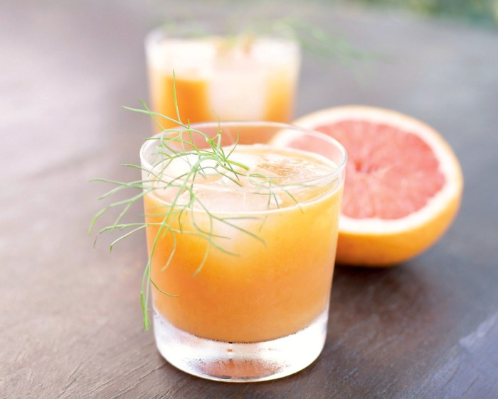 Grapefruit, fennel and buckthorn berry juice create a vibrant and refreshing drink.