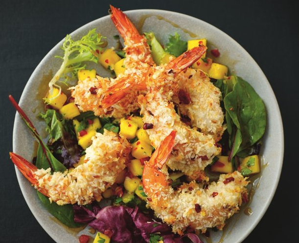 Coconut Shrimp Salad With Spicy Mango & Cilantro Salsa Recipe - Food Republic