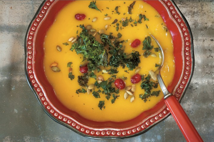 Bourbon Apple Butternut Squash Soup With Roasted Kale Recipe