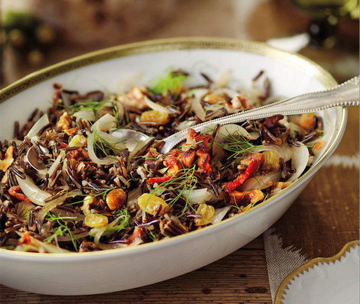 wild rice with bacon