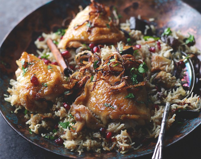 Honeyed Chicken And Eggplant Biryani Recipe