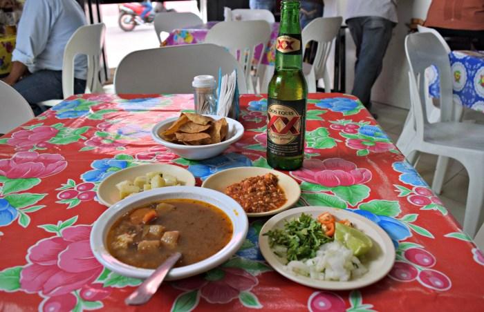 Botanas and beer at El Yuk'Tko