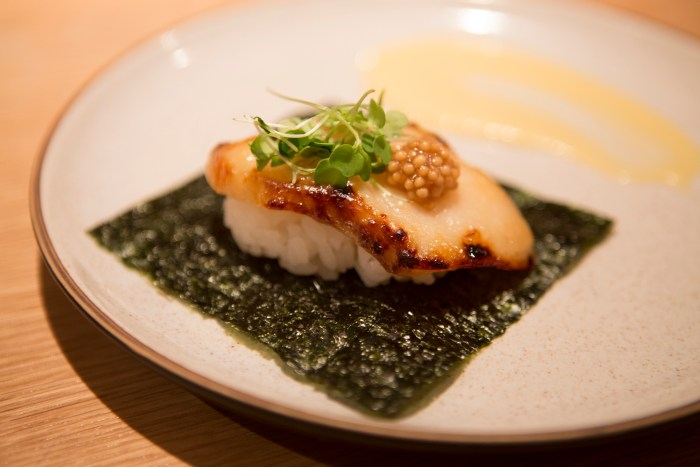 Miso black cod hand roll_Kabocha foam with pickled mustard seeds