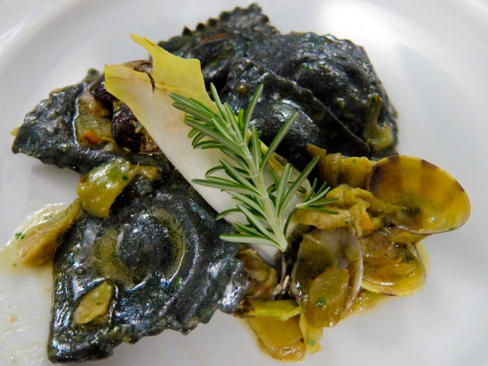 Cuttlefish ink Ravioli with clams