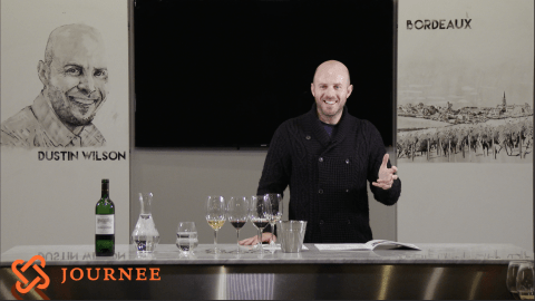 Celebrity sommelier Dustin Wilson leads a course at Journee.