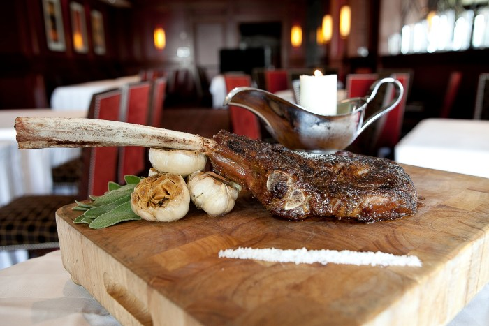 Bull & Bear's Tomahawk Ribeye is a massive 38-ounce bone-in chop of 28-day dry-aged Angus prime beef. (Photo credit: Waldorf Astoria Orlando)