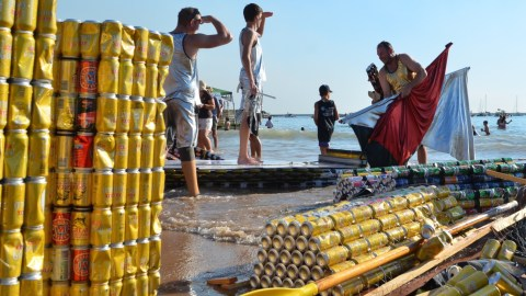 Boats made of beer cans are the main event at the Darwin Lions' Beer Can Regatta.