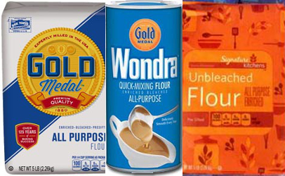 These are three of several varieties and brands of flour recalled by General Mills in relation to a multi-state outbreak of E. coli.