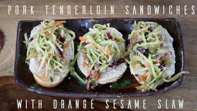 How to made pork tenderloin sandwiches with orange sesame slaw.