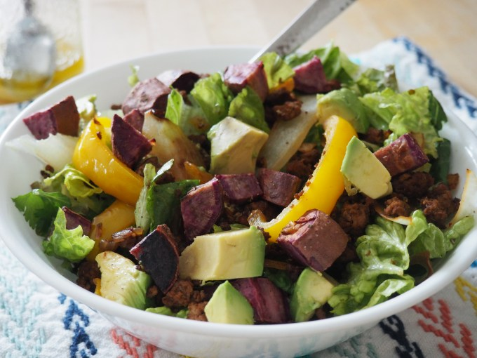 purple sweet potato taco salad with buffalo