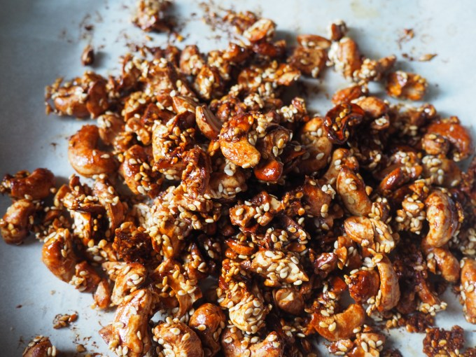 crunchy toasted cashews and sesame seeds