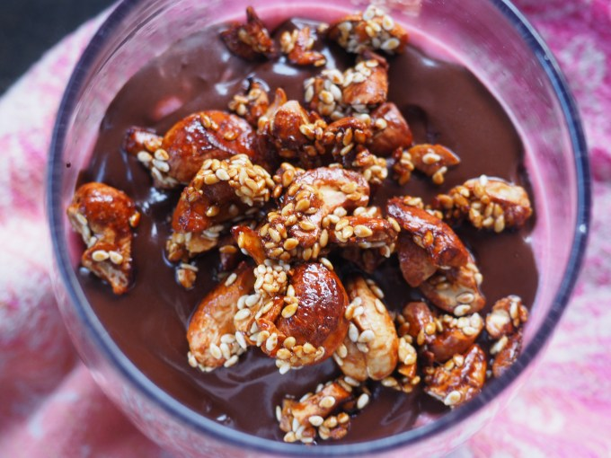 dark chocolate sauce with crunchy nuts