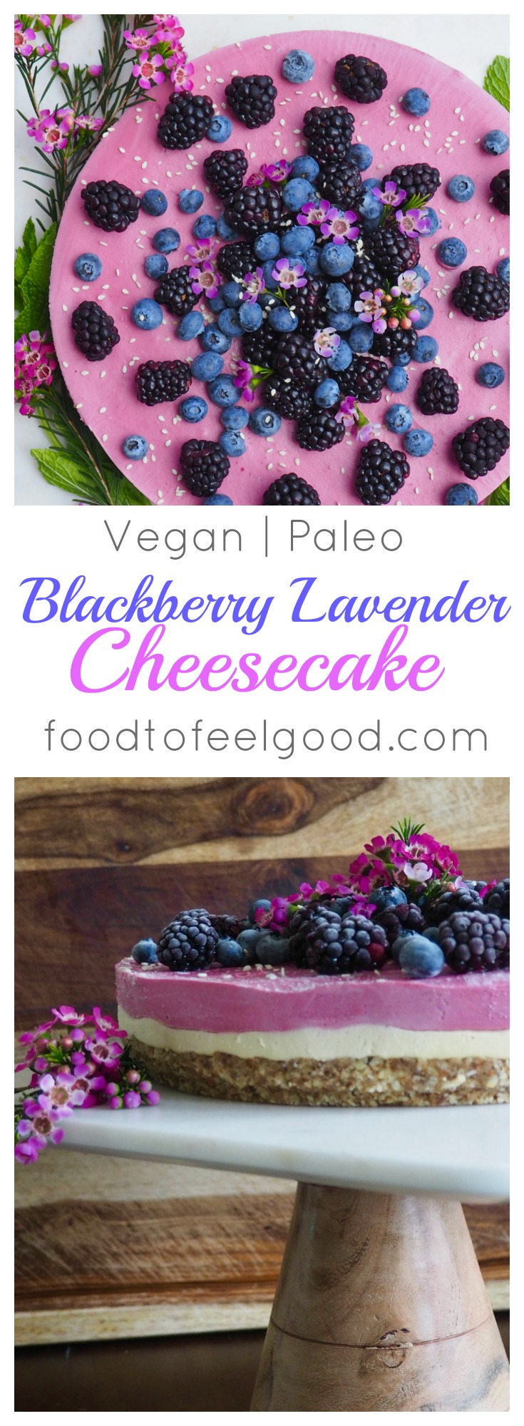 Raw | Vegan | Paleo | Blackberry Lavender Cheesecake - this delicious seasonal dessert is an impressive treat for any special occasion, that will please all dietary needs! #veganrecipes #paleo #healthyrecipes #desserts