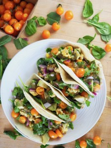 Tomatillo Paleo Breakfast Tacos overhead with tomatoes