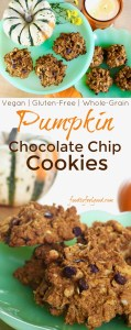 Vegan Gluten-Free Pumpkin Chocolate Chip Cookies | A healthy, whole-grain treat perfect for every fall or winter celebration. #glutenfree #oatmeal #pumpkinspice #fall #veganrecipes