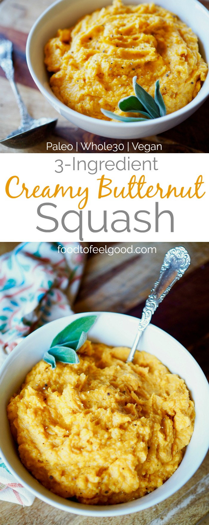 3-Ingredient Creamy Butternut Squash | Paleo | Vegan | Whole30 | A simple healthy recipe for chilly days or a holiday feast, great any time of the day! #healthyrecipes #Whole30 #paleo #glutenfree #vegan
