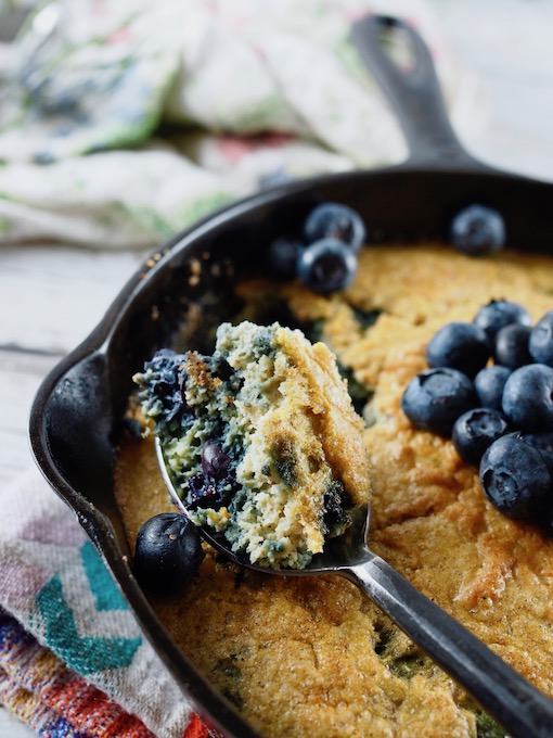spoonful of Coconut Flour Blueberry Skillet Bread