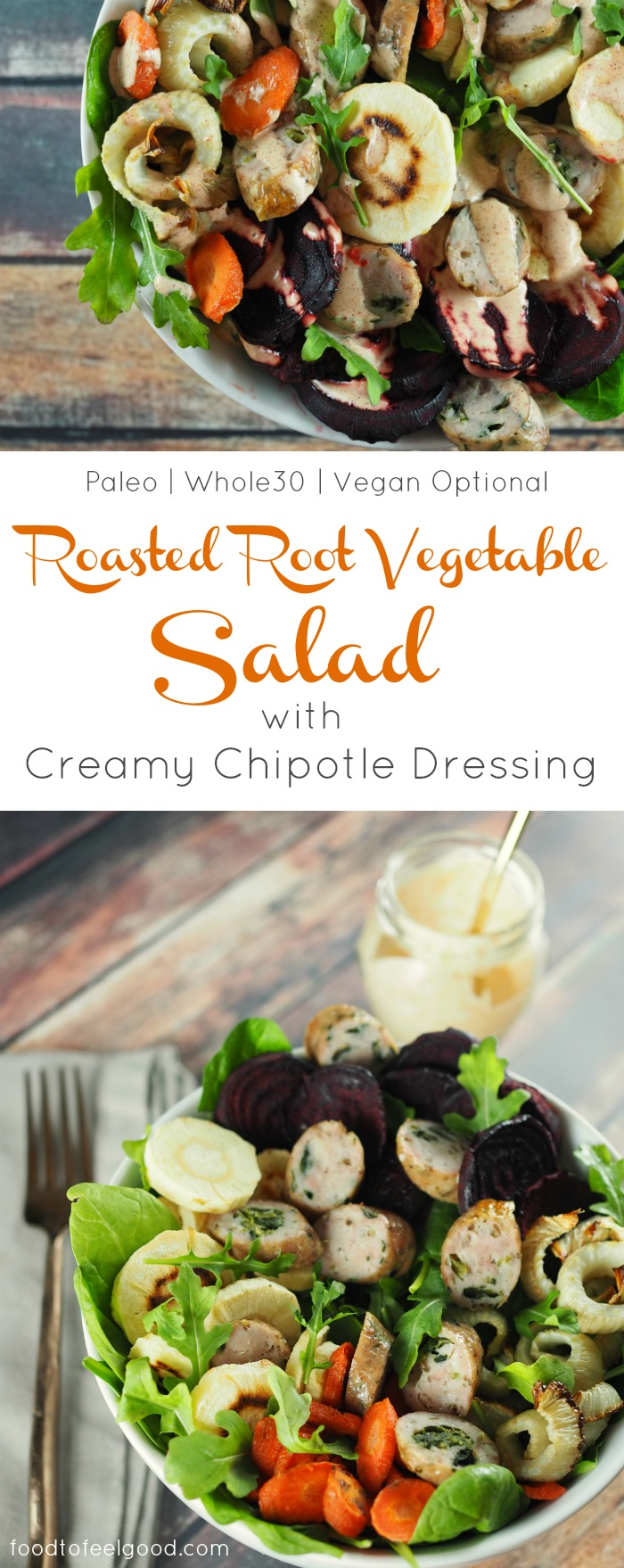 Roasted Root Vegetable Salad with Creamy Dairy-Free Chipotle Dressing | Paleo | Whole30 | Vegan Optional | This hardy and satisfying salad is sweet, savory, and spicy! A healthy and comforting recipe that's really easy to make. #whole30recipes #paleorecipes #rootvegetables #chipotle