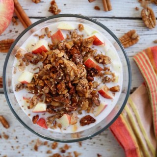glass bowl of cinnamon grain-free granola