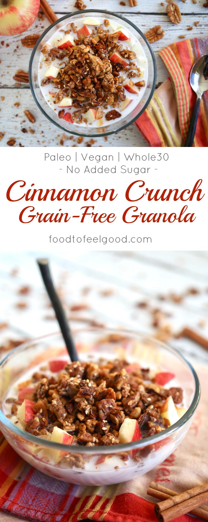 Cinnamon Crunch Grain-Free Granola | Paleo | Whole30 | Vegan | No Sugar Added | This toasted, golden granola is full of super healthy nuts, seeds, and coconut flakes. It's sweetened only with applesauce, vanilla, and cinnamon - a quick and healthy meal the whole family will love! Amazing over coconut milk with fresh fruit. #whole30 #paleorecipes #granolarecipes #lowcarb #healthybreakfastrecipes