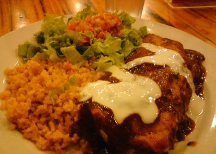 Chicken Enchilada with Mexican Rice and Salad