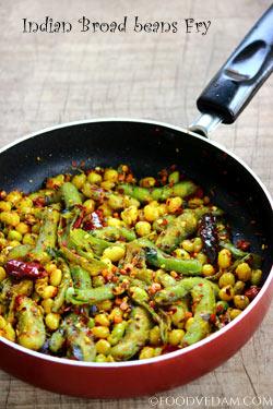 Broad beans fry -quick and easy chikkudukaya iguru recipe