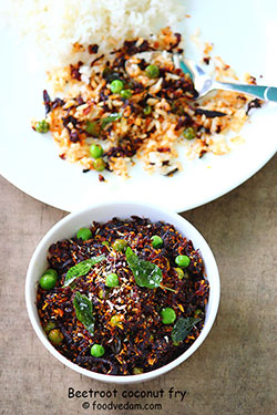 Beetroot fry with coconut and green peas