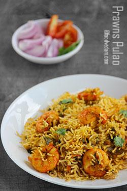 Prawns Pulao Recipe-Spicy Andhra Style Prawns Pulao
