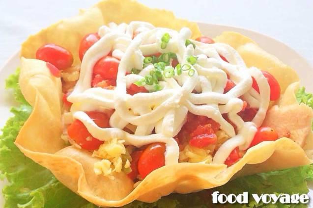 Мексиканский салат в корзинке