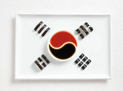 south korea kimbap and sauces