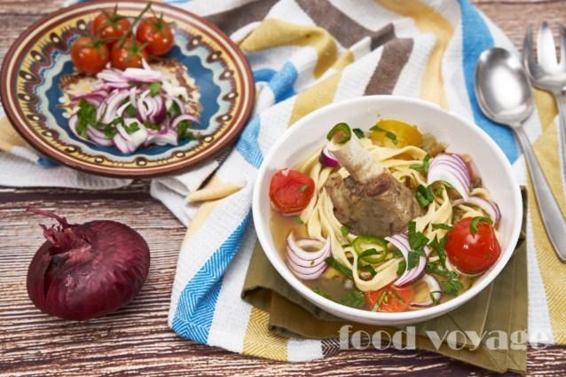 Суп из баранины с домашней лапшой и сезонными овощами