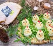 Фаршированные яйца «Цыплята из буженины»