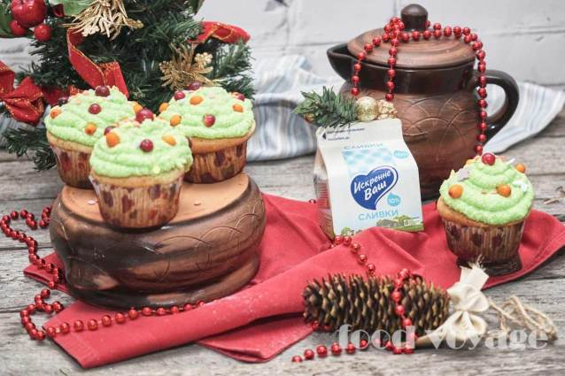 Творожные капкейки  «Новогодние ёлочки»